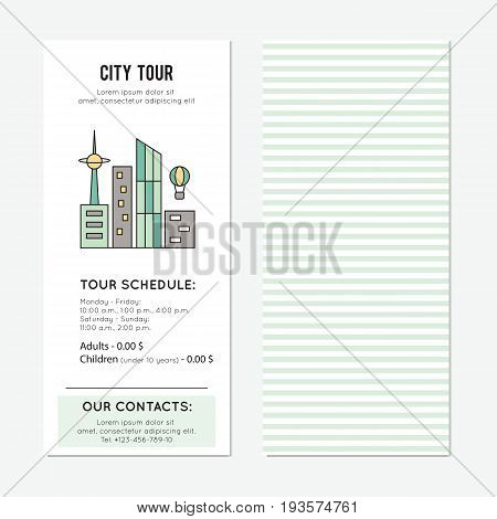 City tour vector vector vertical banner template. The tour announcement. For travel agency products, tour brochure, excursion banner. Simple mono linear modern design.