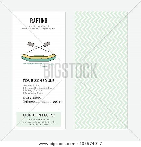 Rafting vector vertical banner template. The tour announcement. For travel agency products, tour brochure, excursion banner. Simple mono linear modern design.