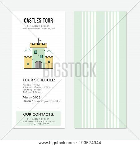 Castle vector vertical banner template. The tour announcement. For travel agency products, tour brochure, excursion banner. Simple mono linear modern design.