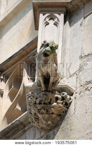A Gargoyle in Saint-Jacques Tower. Paris, France