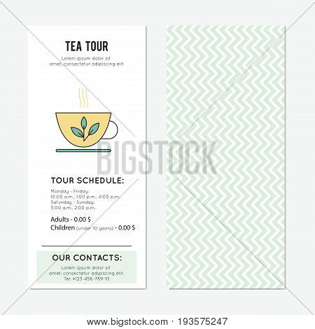 Tea cup vector vertical banner template. The degustation tour announcement. For travel agency products, tour brochure, excursion banner. Simple mono linear modern design.