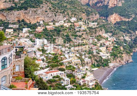 The cliff side village of Positano is the Amalfi Coast's most picturesque and photogenic township - Campania Italy