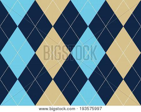 Blue beige argyle seamless pattern. Flat design. Vector illustration.