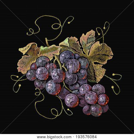 Embroidery cluster of grapes beautiful still life. Classical embroidery grapes on black background template fashionable clothes t-shirt design print renaissance style