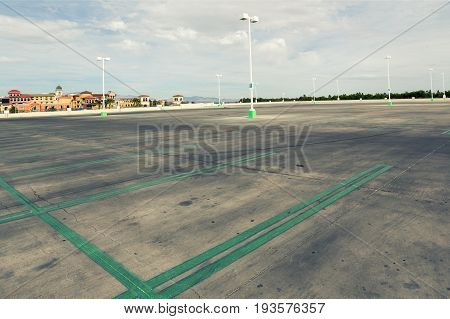 huge Empty parking lot in super store