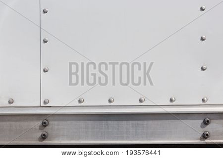 Metal texture and background riveted metal plate