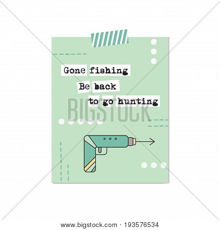 Spearfishing harpoon. Vector inspirational card template. Printable poster, design for travel agency products, tour brochure, excursion banner. Simple elegant modern design.