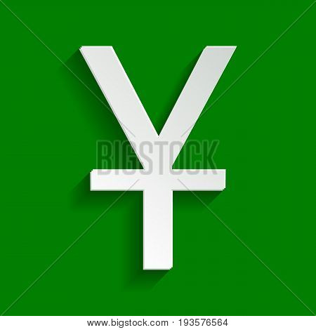 Chinese Yuan sign. Vector. Paper whitish icon with soft shadow on green background.