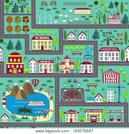 Seamless city landscape car track. Play mat for children activity and entertainment. City background with streets buildings sea and plants.