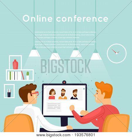 Online conference. Internet. Flat design vector illustration.