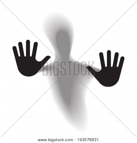 Diffused silhouette body through frosted glass. Vector illustration.