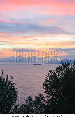 Late october twilight over Gallo Lungo Island - Amalfi Coast Campania Italy