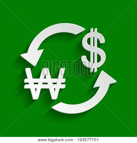 Currency exchange sign. South Korea Won and US Dollar. Vector. Paper whitish icon with soft shadow on green background.