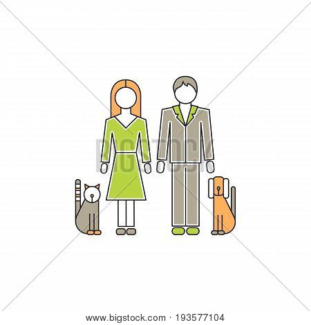 Vector thin line icon, family with pets. Husband and wife with cat and dog. Metaphor of happy family relations. Colored isolated symbol. Simple mono linear modern design.