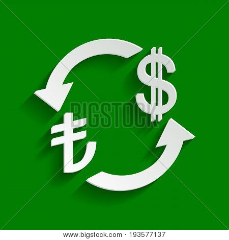 Currency exchange sign. Turkey Lira and US Dollar. Vector. Paper whitish icon with soft shadow on green background.