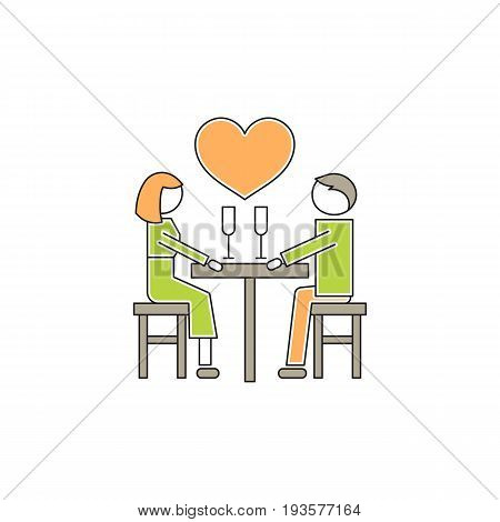 Vector thin line icon, two people in love, romantic dating. Metaphor of amorousness, affection and faithfulness. Man and woman at the table. Colored isolated symbol. Simple mono linear modern design.