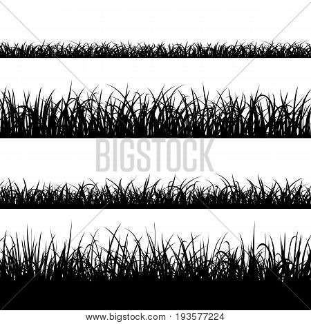 Stock vector illustration. Set of silhouette of grass isolated on white background. Stock vector illustration