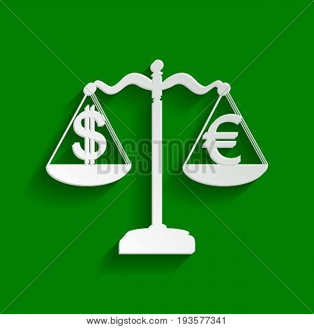 Justice scales with currency exchange sign. Vector. Paper whitish icon with soft shadow on green background.