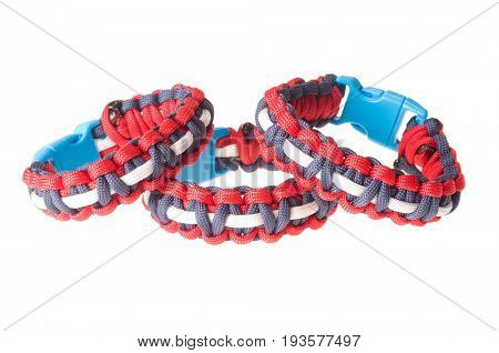 Colbert, WA - June 9, 2017: Paracord survival bracelets made in the USA, in Patriotic  colors, celebrating the 4th of July, illustrative editorial