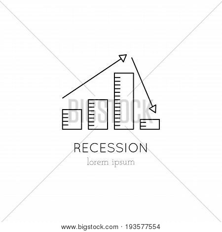 Vector thin line icon, graph going up and down. Metaphor of recession, crisis and disappointment. Logo template illustration. Black on white isolated symbol. Simple mono linear modern design.