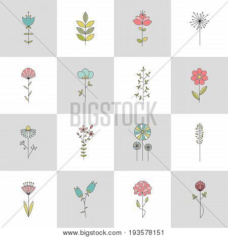 Set of vector thin line icons, flowers on a stem. Elegant logo templates. Design elements for garden or flower shop, florist, natural cosmetics products. Isolated symbols. Simple linear modern design.