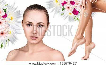 Spa collage of female face and legs with flowers over white background. Bodycare concept.