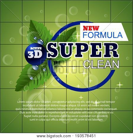 Super Clean Template For Laundry Detergent Package Green Design Mint For Washing Powder Vector Eps 1