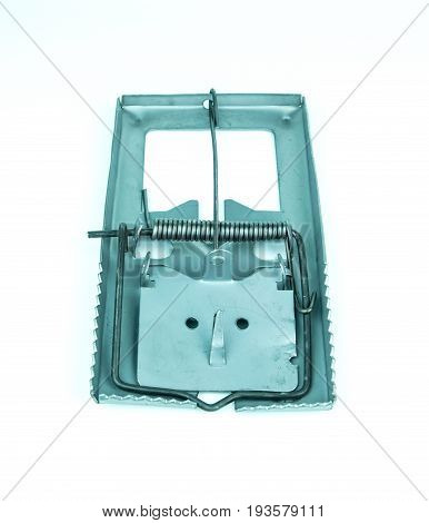 Metal mousetrap on a white background, object