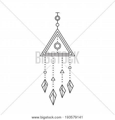 Tribal vector thin line icon, native indian talisman. Boho element, bohemian style, ethnic american symbol. Black on white isolated illustration. Simple mono linear modern design.