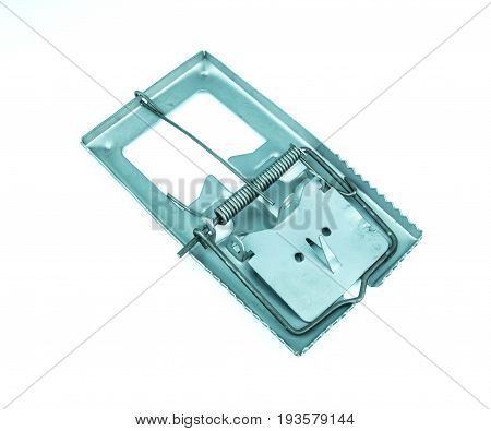 Metal mousetrap on a white background, rat