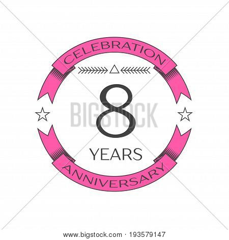 Realistic eight years anniversary celebration logo with ring and ribbon on white background. Vector template for your design