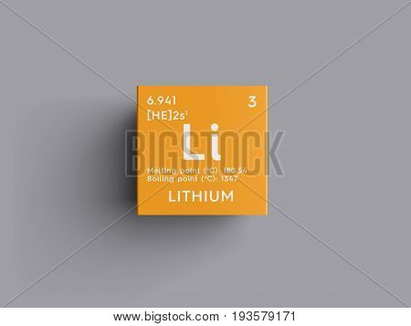 Lithium. Alkali metals. Chemical Element of Mendeleev's Periodic Table. Lithium in square cube creative concept.