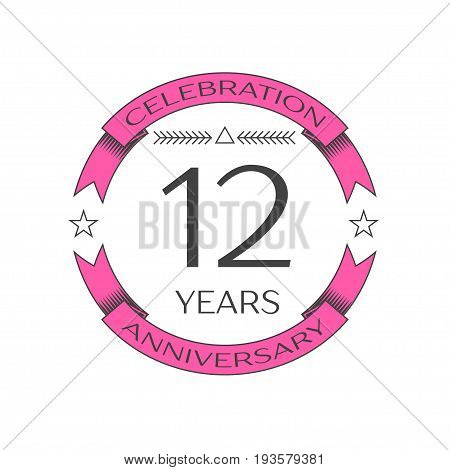 Realistic twelve years anniversary celebration logo with ring and ribbon on white background. Vector template for your design