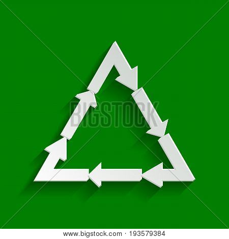 Plastic recycling symbol PVC 3 , Plastic recycling code PVC 3. Vector. Paper whitish icon with soft shadow on green background.