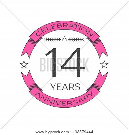 Realistic fourteen years anniversary celebration logo with ring and ribbon on white background. Vector template for your design