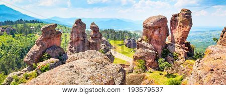 Banner nature gem background with Belogradchik cliff rocks near ancient Kaleto, Bulgaria