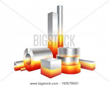 Group melt hot metal steel objects. Vector illustration.