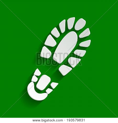 Footprint boot sign. Vector. Paper whitish icon with soft shadow on green background.