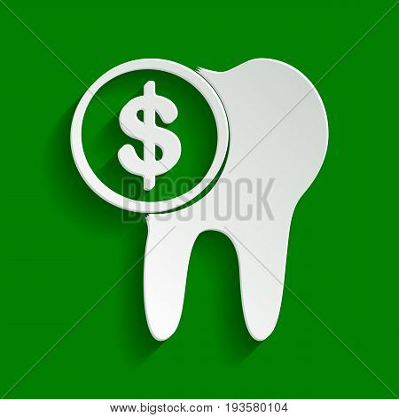 The cost of tooth treatment sign. Vector. Paper whitish icon with soft shadow on green background.