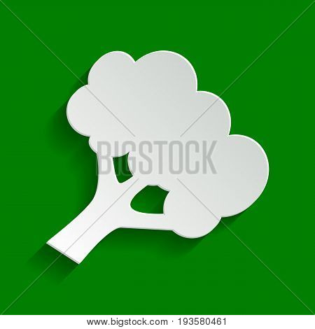 Broccoli branch sign. Vector. Paper whitish icon with soft shadow on green background.