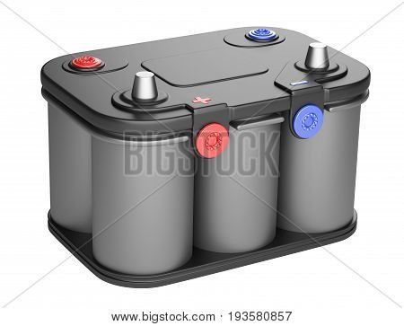 Black battery car isolated on a white background. 3d illustration high resolution.