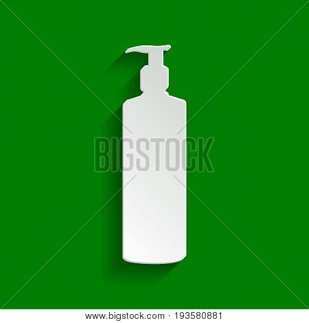 Gel, Foam Or Liquid Soap. Dispenser Pump Plastic Bottle silhouette. Vector. Paper whitish icon with soft shadow on green background.