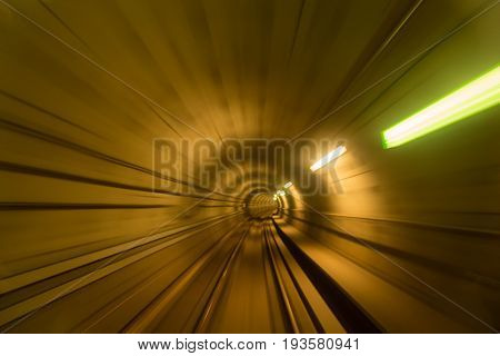 Blurred motion of metro tunnel in Copenhagen