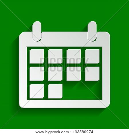 Calendar sign illustration. Vector. Paper whitish icon with soft shadow on green background.