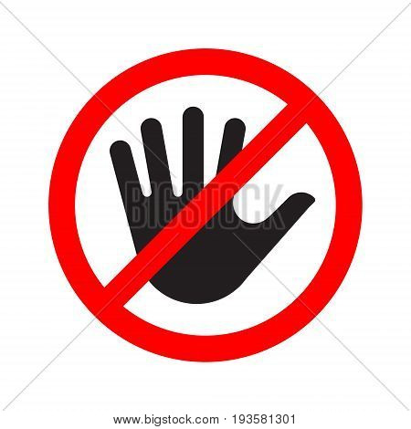 No entry sign icon with a crossed-out hand. Vector illustration.