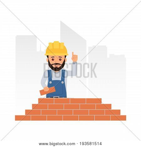Cartoon builder holding up his index finger and giving advice. Worker builds a brick wall. Brickwork. Vector illustration in flat style.
