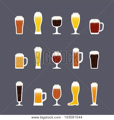 Beer icons set in flat style bottles and glasses various colors. Icon set in flat style. Vector illustration