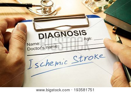 Ischemic stroke written on a diagnosis form.
