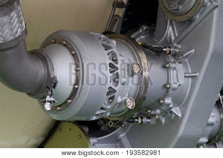 Parts and components of a modern turbojet engine closeup.