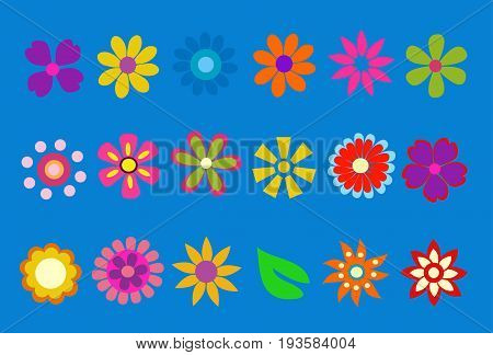 colored spring flower illustration on blue background